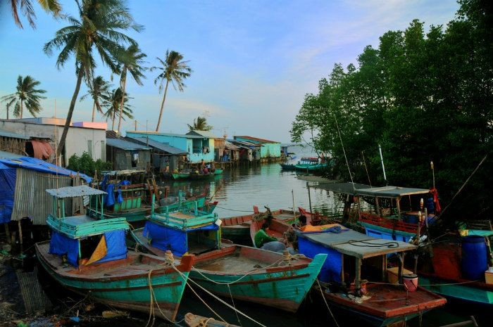 A transient peace in a fishing village near Ham Ninh Mountain's foothill